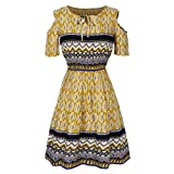 Software : Clearance Deals Plus Size Dress,ZYooh 2018 Fashion Women Cold Shoulder Short Sleeve Strapless Bandage Midi Dress (Yellow, XXXL)
