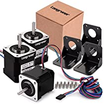 Stepper Motor, Longruner 3 Packs Nema 17 Stepper Motor 1.7A 0.59 Nm 84oz.in 48mm Body w/ 1m Cable & Connector for 3D Printer/CNC with Motor Mounting Bracket and 3 * 6mm M3Screws