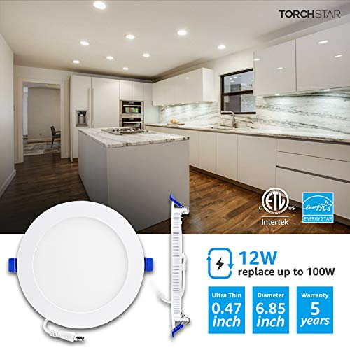 TORCHSTAR 12W 6'' Ultra-Thin Recessed Ceiling Light with Junction Box, 4000K Cool White, Dimmable Wafer Light, 850lm 100W Equiv, ETL and Energy Star Certified, Pack of 8 by TORCHSTAR (Image #3)
