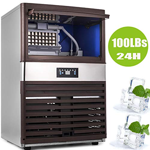 Happybuy Commercial Ice Maker 100lbs per Day with 40lbs Storage Capacity 5x9 Ice Cubes Plate Commercial Ice Machine 110V Automatic Ice Machine for Restaurant Bar Cafe w/Scoop and Connection ()