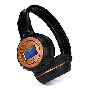 Botrong Adjustable Wireless Stereo Bluetooth Headphone for Iphone /Cell Phone/PC/Tablet/Desktop/Laptop/Notebook/MP3 Player/FM/Bluetooth 3.0 /Supprot TF Card /Support Mico-SD/Mic Bulit-in (Orange)