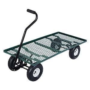 Giantex Wagon carro de jardín jardín remolque cubierta de malla de acero Heavy Duty carrito Patio jardín