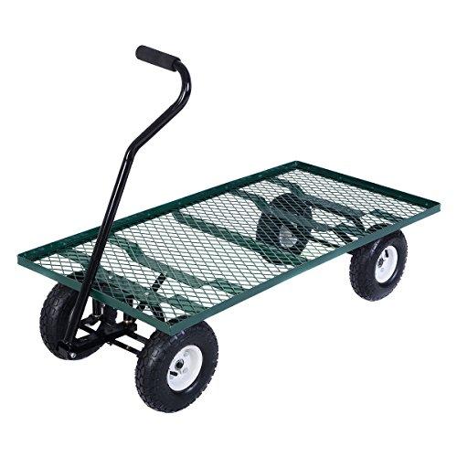 Nursery Wagon Garden Cart (Giantex Wagon Garden Cart Nursery Steel Mesh Deck Trailer Heavy Duty Cart Yard)