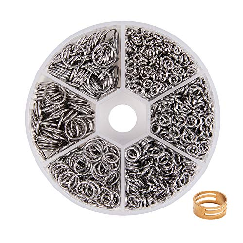 - PandaHall Elite About 1000 Pcs 304 Stainless Steel Open Jump Rings O Ring Diameter 4mm 5mm 6mm 8mm 9mm 10mm Wire 18-Gauge for Jewelry Making