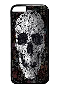 Case Cover For Apple Iphone 4/4S Doodle Skull Polycarbonate Hard Case Back Case Cover For Apple Iphone 4/4S Black
