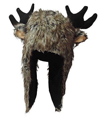 Faux Fur Brown Moose Hat with Antlers and Long Drape]()