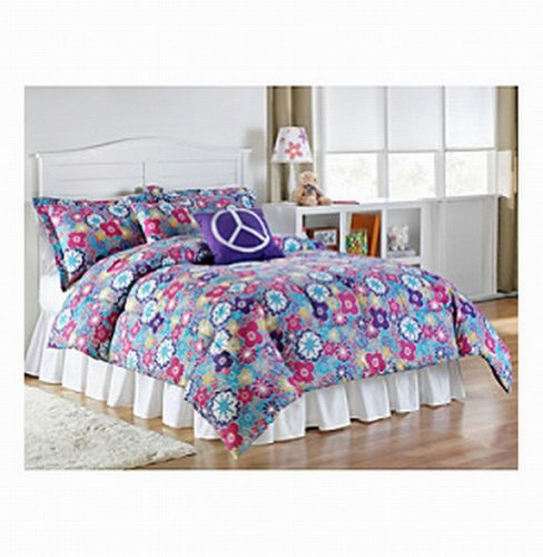 living Quarters Microfiber Twin/Twin XL Bed Comforter Set Emma Floral Peace ()