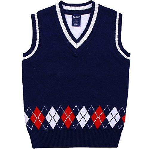 Kids Toddler Little Boys Uniform Cable V-Neck Argyle Thicken Knit Sweater Vest Pullover -