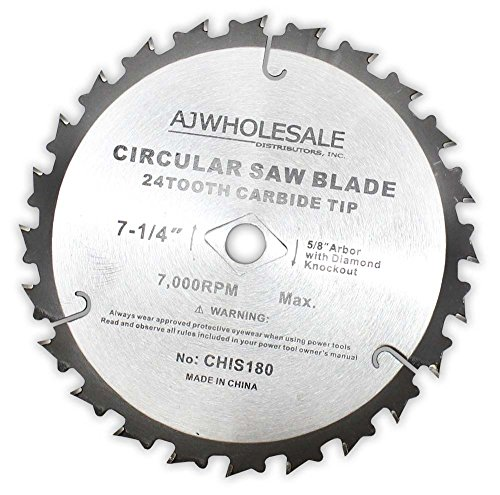 7-1/4 Inch Diameter Carbide Tip Saw Blade With 24 Teeth (ToolUSA: A90-IS180) (Tip Blade Round)