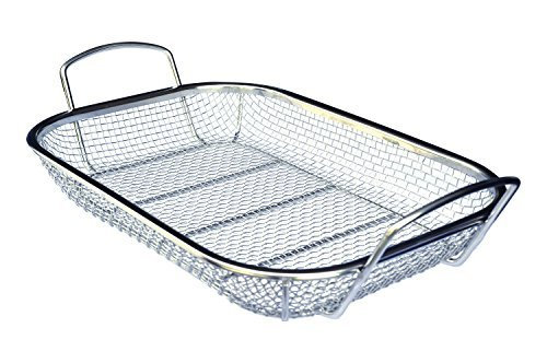 Stainless Steel Grill Basket - Culina #1 Best Stainless Steel Square BBQ, FDA Approved Vegetable and Grilling Basket