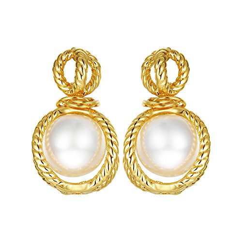 Pearl Rope Earrings (Pearl Inside Rope Gold Plated Dangle Earring)