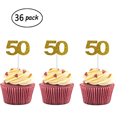 Anniversary Cupcake - 36 Pack Gold Glitter 50th Birthday Cupcake Topper Cake Picks for Birthday Party Supplies