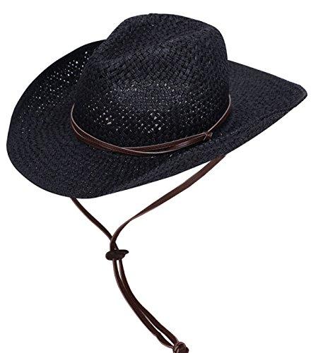 6b41b0171b4 Galleon - Straw Cowboy Hat Men   Women s Summer Cap W  PU Leather Band    Chin Strap