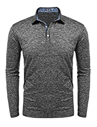 COOFANDY Men's Long Sleeve Polo Shirt Business Classic Fit Cotton T Shirt