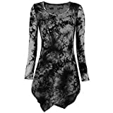 Pengy Womens Long Sleeve Fashion Blouse O Neck Tie Dyed Hankerchief Hemline Tunic Tops Blouse (Black, XL)