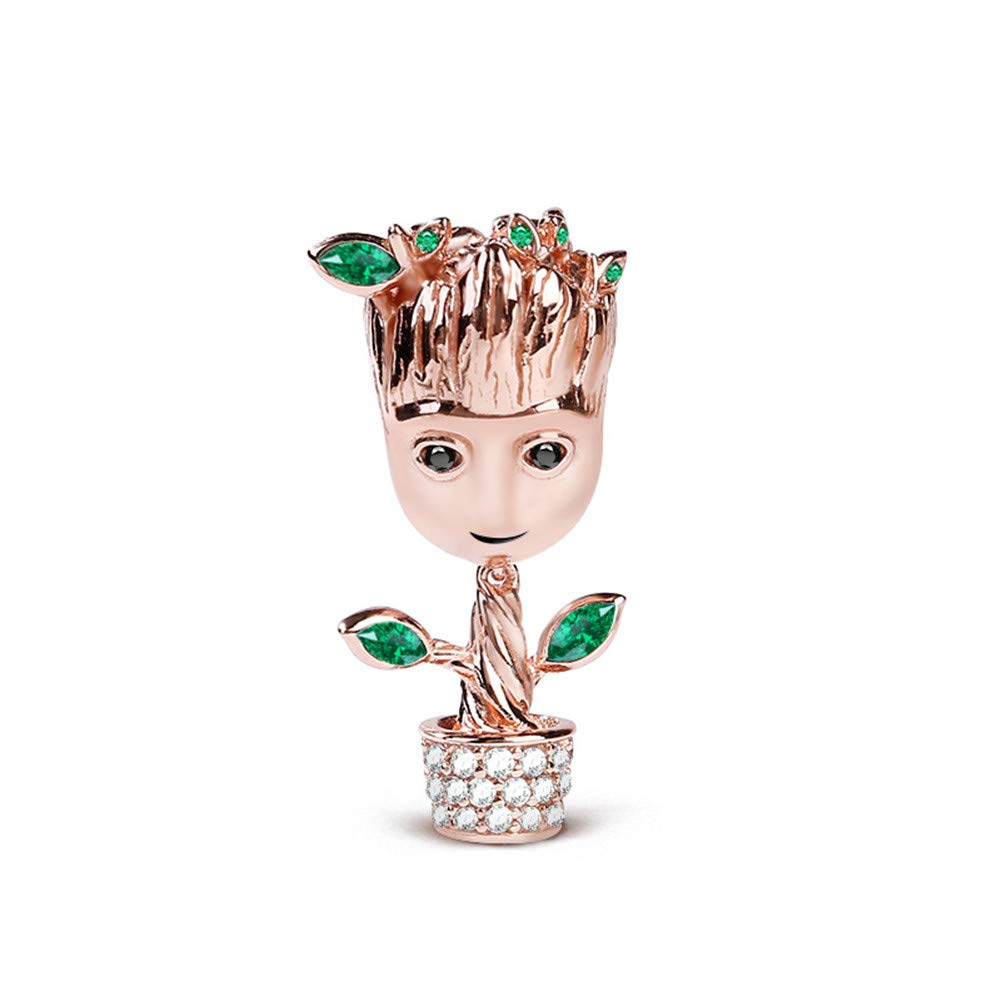 GNOCE Tree Man Charms Sterling Silver 18k Rose Gold Plated Bead Charms with Cubic Zirconia and Green Leaf Fit Bracelet/Necklace Jewelry Gift for Women Mens by GNOCE