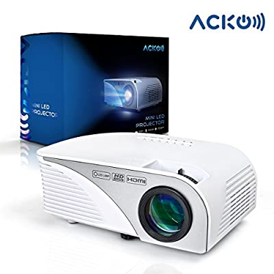 """Acko Portable Mini HD LED Video Projector Office Home Theater 1200 LM Multimedia Outdoor 20""""-150"""" HDMI VGA USB AV SD Audio 1080P Smart Phone Tablet PC Computers Laptops White Warranty Included"""