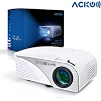 Acko Portable Mini HD LED Video Projector Office Home Theater 1200 LM Multimedia Outdoor 20'-150' HDMI VGA USB AV SD Audio 1080P Smart Phone Tablet PC Computers Laptops White Warranty Included