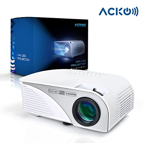 "Acko Portable Mini HD LED Video Projector Office Home Theater 1200 LM Multimedia Outdoor 20""-150"" HDMI VGA USB AV SD Audio 1080P Smart Phone Tablet PC Computers Laptops White Warranty Included"