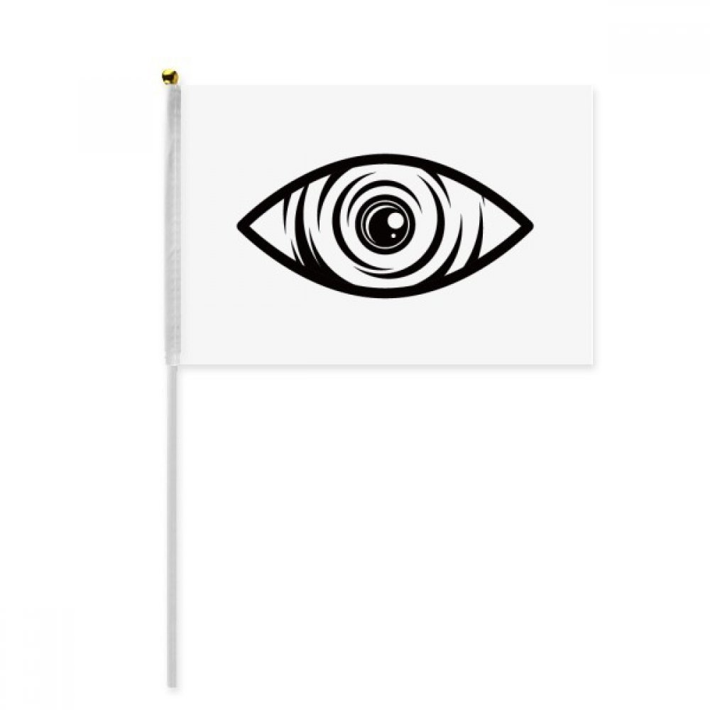 Black Decoration Eye Vector Pattern Hand Waving Flag 8x5 inch Polyester Sport Event Procession Parade 4pcs