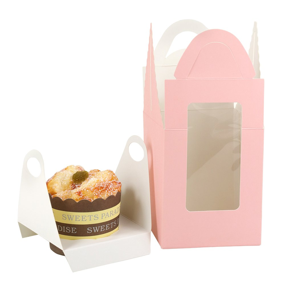 Kirakira Christmas Multiple Colour Cupcake Boxes, with Clear Window and Handle, Handsel Cupcake Carriers for Wedding Cupcake Favor Boxes, Pink, 50 Pack by Kirakira