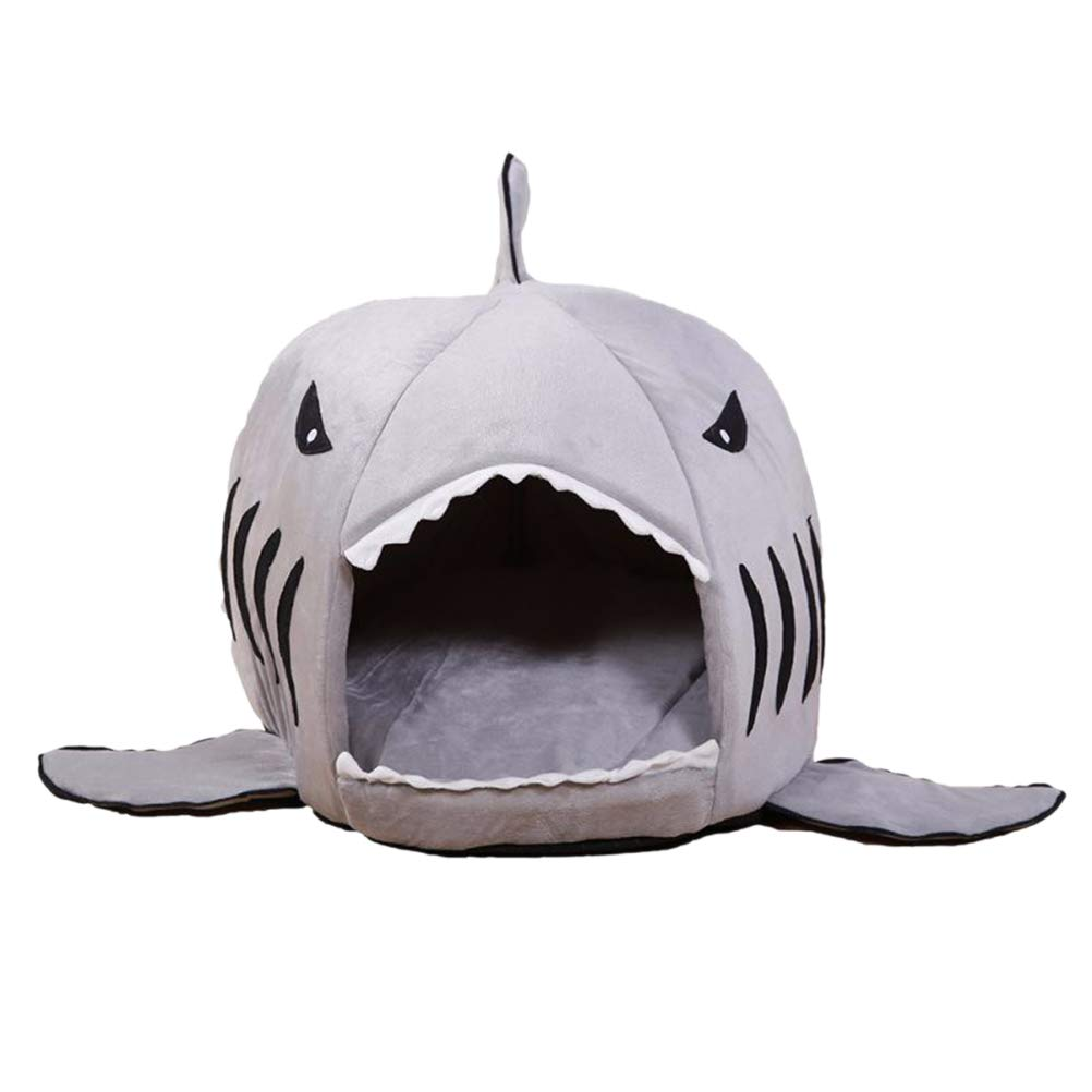 L POPETPOP Shark Design Small Dog Puppy Cat Soft Plush Bed House   Warm and Cozy Cats Kittens Bed Cave   Size L, 60x60x58cm, 23.6 x23.6 x22.8 , (Grey)