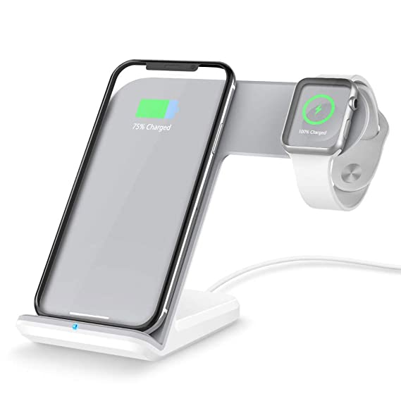 GoXteam Wireless Charger Dock Stand Holder for Aplle iWatch Apple Watch 3 2 iPhone Xs Max XS XR 8 Plus 8plus Docking Station