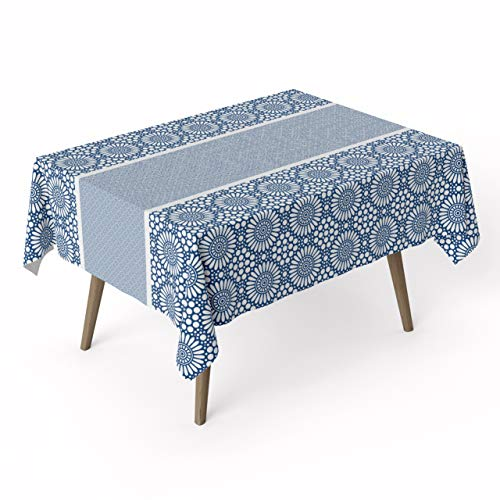 (ARDEA HOME Azure Cotton Tablecloth | Waterproof Laminated Cotton Table Covers for Rectangle Tables | Stain Resistant & Wipe Clean Table Cloth Pad Ideal for Party & Kids | Eco Friendly Flat Sheets)