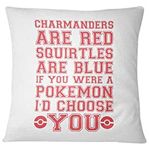Home Design Charmanders are Red Squirtles are Blue if You were a Pokemon I'd Choose You Printed Cushion - White/Red, 40 x 40 cm