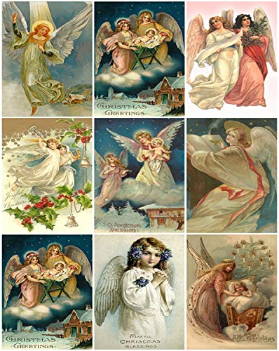 (Victorian Vintage Angels Christmas Card Collage Sheet 8.5 x 11