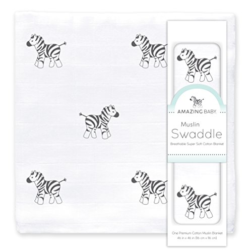 Amazing Baby Muslin Swaddle Blanket, Premium Cotton, Zebra, Black