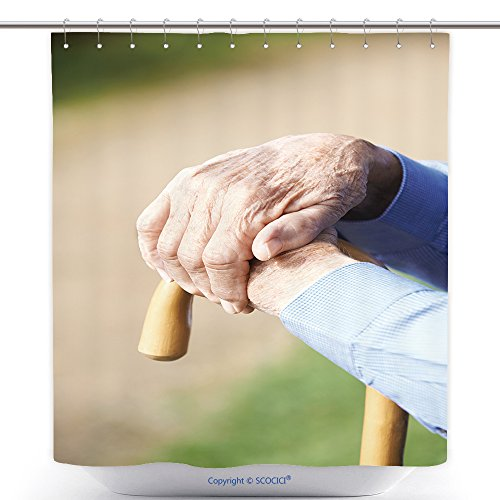vanfan-Polyester Shower Curtains Close Up Of Senior Man S Hands Resting On Walking Stick Polyester Bathroom Shower Curtain Set With Hooks(48 x 72 - On Walking Sunshine Review