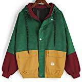 Bookear Clearance Sale! Women Long Sleeve Corduroy Patchwork Oversize Zipper Jacket Windbreaker Coat Overcoat (XL, Wine Red)