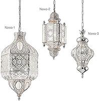 Ideal Lux 140827 Nawa orientalische Hängeleuchte Ø 19cm Silber Orient-Lampe