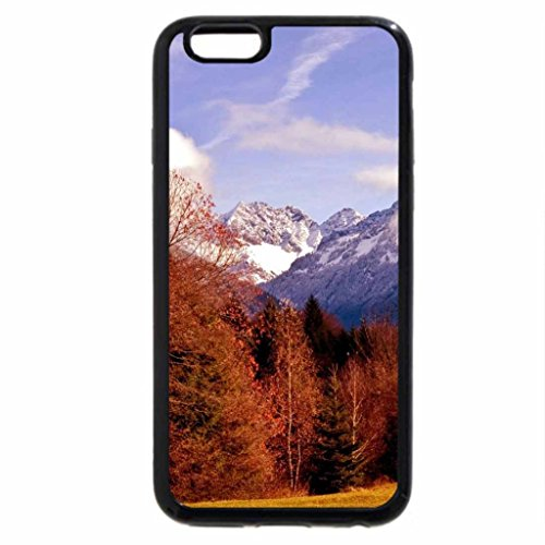 iPhone 6S Case, iPhone 6 Case (Black & White) - log cabin in the bavarian alps