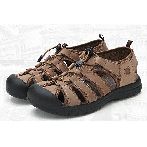 Men's Shingle Sports Velcro Sandals Mens Summer Leather Closed-Toe Outdoor Sandals Trekking Shoes Khaki LFJc5tF