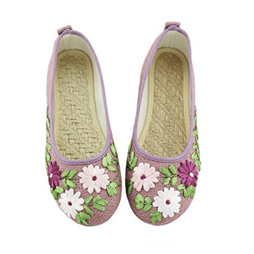 Peking Women Linen Embroidered Slip Comfortable Fabric Ballerina Feminino Old Cotton Vintage Flat Shoes Flats Kenavinca On Purple 10 Flower Sapato 2 w7gqnz