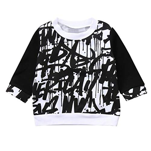 3bc5130f51eeb 2018 New Autumn Winter Clothes Toddler Baby Kids Boys Girls Long Tops  Doodle Print Crew Neck