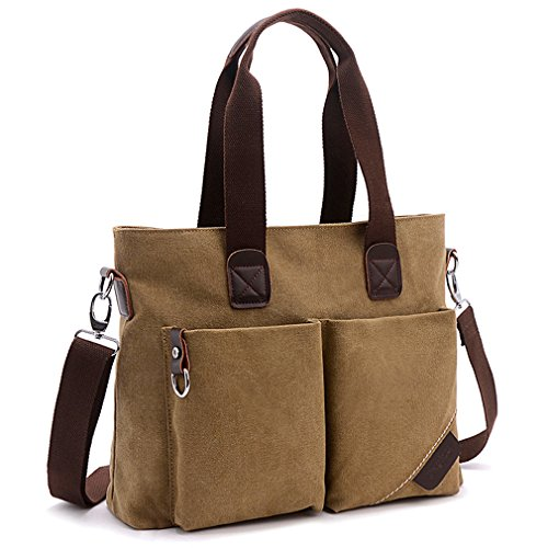 - ToLFE Women Top Handle Satchel Handbags Tote Purse Shoulder Bag (Khaki-(Large))