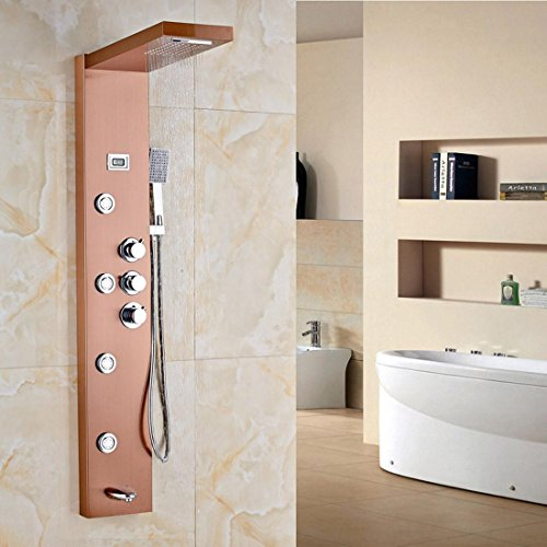 HYY@ Rose Gold Thermostatic Shower Column Three Handles Wall Mounted ...