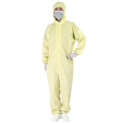 SHUDAGE Isolation Gowns, Disposable Protection Gown Coverall Clothing Home Outdoor Protective Isolation Suit for Outdoor Anti-Fog Anti-Particle Anti-Dust Protective Coverall (L, Yellow): Beauty [5Bkhe1103601]