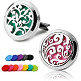 RoyAroma 2PCS 30mm Car Aromatherapy Essential Oil Diffuser, Stainless Steel Locket Air Freshener