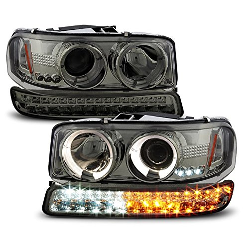 For 1999-2006 GMC Sierra | Yukon Replacement Smoked Halo Projector Head Lights + LED Bumper Lights Pair