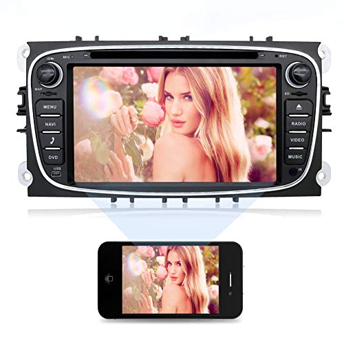 2G 32G 7' Quad Core Android 6.0 Double Din Radio Car Stero with in Dash GPS Navigation,HD 1024x600 Touch Screen with Bluetooth & Built-in USB Port for Ford/Focus/S-MAX/Mondeo/C-MAX/Galaxy