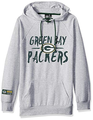 - NFL Green Bay Packers Women's Fleece Hoodie Pullover Sweatshirt Tie Neck, Large, Heather Gray