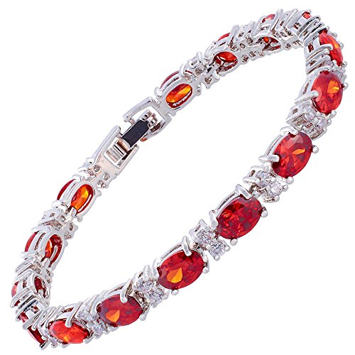 RIZILIA Oval Cut Simulated Red Garnet and White Cubic Zirconia 18K White gold Plated Tennis Bracelet, 7