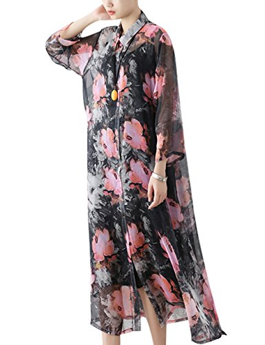 Youlee Mujeres Otoño Verano Impreso Gasa Vestir Estilo 2