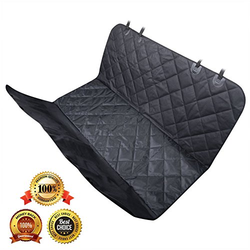 AsyPets Pet Seat Cover for Cars, Trucks, and Suv, Padded Oxford - Dog Seat Cover with Safety Seat Anchors Belt - Black Waterproof & Non-slip Backing & Hammock Convertible & Machine Washable