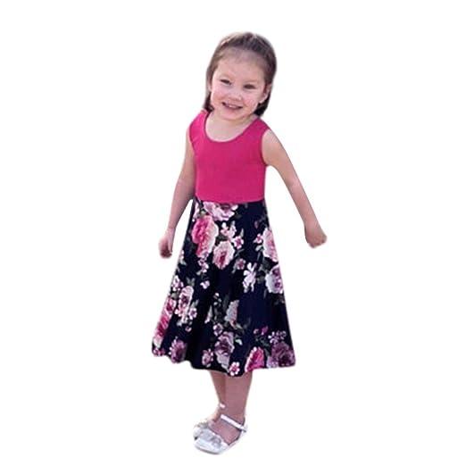 88b95ca0988b Amazon.com  KONFA Teen Baby Girls Flowers Print Splicing Dress ...