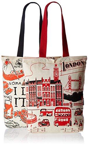 Kanvas Katha Women's Combo Tote Bag (Pack of 2) (Off-White) (KKCAMZOCT007-KKCAMZOCT008)